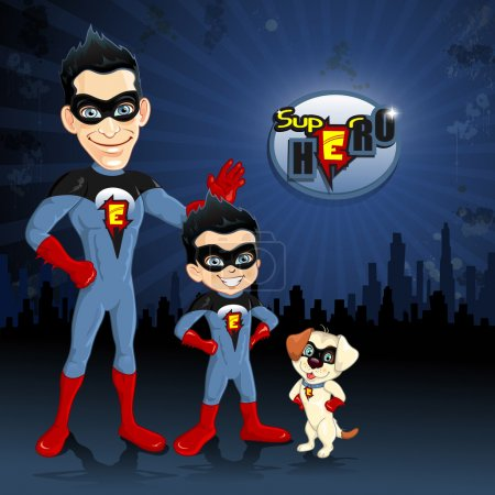 Dad son and dog superheroes