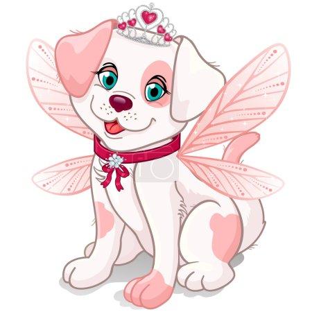 Illustration pour Chien habillé comme une fée princesse avec des ailes roses et des ailes couronnes peut être retiré-transparence mélange effets et dégradé mes- EPS10 - image libre de droit