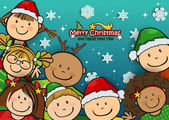Children together at Christmas with snowflakes