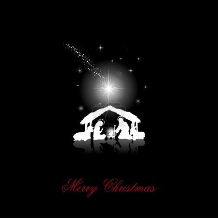 Foto de Escena de la Natividad con las siluetas de la Sagrada Familia de blanco sobre un negro fondo - transparencia mezclando efectos y degradado de malla-Eps10 - Imagen libre de derechos