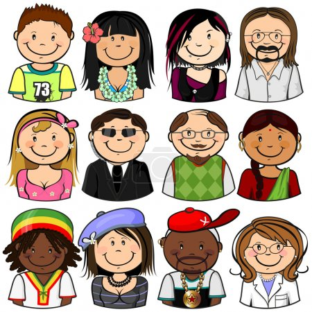 Illustration for Collection of various different characters multiracial half-length isolated-EPS8 - Royalty Free Image
