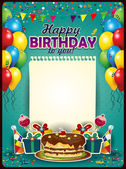 Happy Birthday with a sheet of paper vertically with balloons and cake-space to insert your text-transparency blending effects and gradient mesh-EPS10