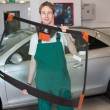 Постер, плакат: Glazier with car windshield made of glass