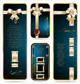 Blue Gift card with white and gold ribbon set