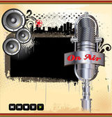 Grunge music background with abstract retro microphone and speakers