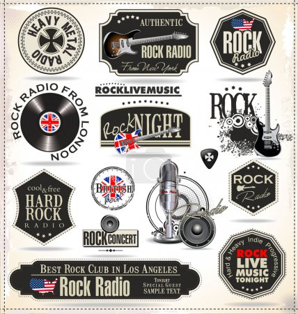 Rock music badges and labels