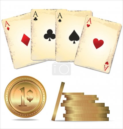 Ace poker with golden poker chips