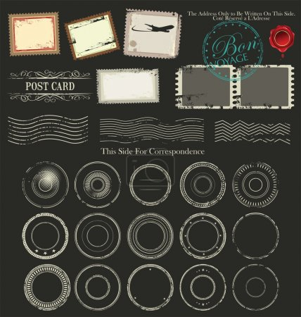 Illustration for Vintage postcard designs ,stamps and tags - Royalty Free Image