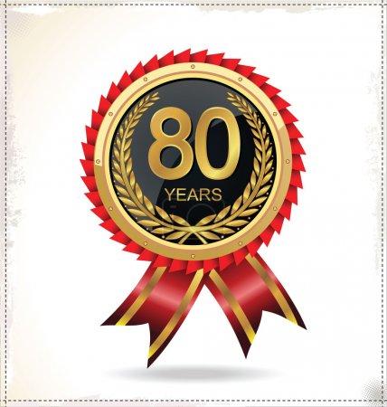 Illustration pour Étiquette d'or anniversaire - image libre de droit