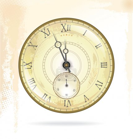 Old vintage clock face, vector illustration