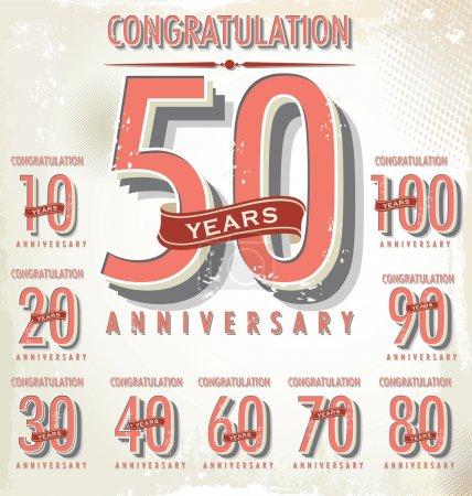 Anniversary retro sign collection