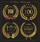 Anniversary golden laurel wreath 100 years