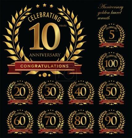 Illustration for Anniversary golden laurel wreath - Royalty Free Image