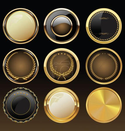 Illustration for Vector Badges of Gold and black Seal Set - Royalty Free Image
