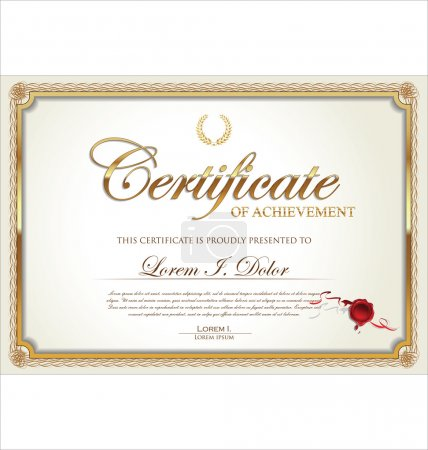 Illustration for Golden Certificate template - Royalty Free Image