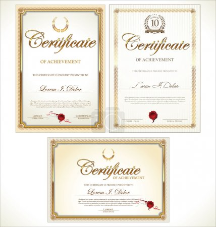 Illustration for Golden certificate template, collection - Royalty Free Image