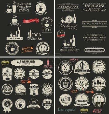 Illustration pour Set d'étiquettes pour restaurant et café - image libre de droit