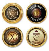 Set of golden restaurant labels