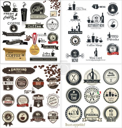Illustration pour Set d'étiquettes pour restaurant et café, collection - image libre de droit