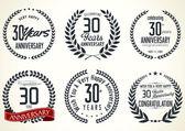 Anniversary laurel wreath retro labels