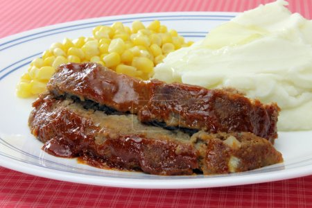 Meatloaf Dinner Plate with mashed potatoes and cor...