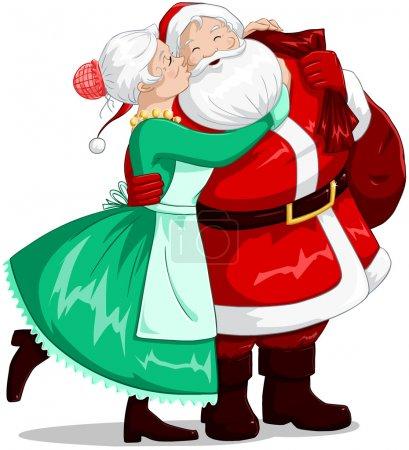Illustration pour Illustration vectorielle de Mme Claus embrassant le Père Noël sur la joue et l'embrassant pour Noël . - image libre de droit