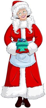 Illustration pour Illustration vectorielle de Mme Claus tenant un cadeau pour Noël et souriant . - image libre de droit
