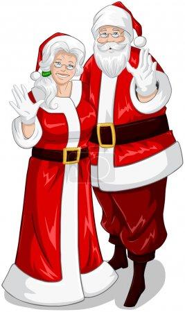 Illustration pour Illustration vectorielle du Père Noël et de Mme Claus serrés dans leurs bras et agitant leurs mains pour Noël . - image libre de droit