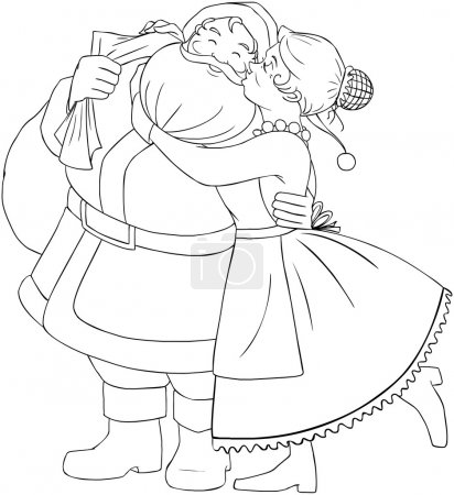 Illustration pour Illustration vectorielle coloriage de Mme Claus embrasse le Père Noël sur la joue et l'étreint pour Noël - image libre de droit