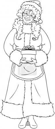 Illustration pour Illustration vectorielle coloriage de Mme Claus tenant un cadeau pour Noël et souriant - image libre de droit