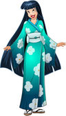 Vector illustration of an asian woman in traditional blue green japanese kimono