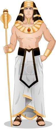 Vector illustration of Pharaoh holding a serpent s...