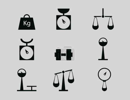 Illustration for Web icon set - scales, weighing, weight, balance. vector illustration - Royalty Free Image