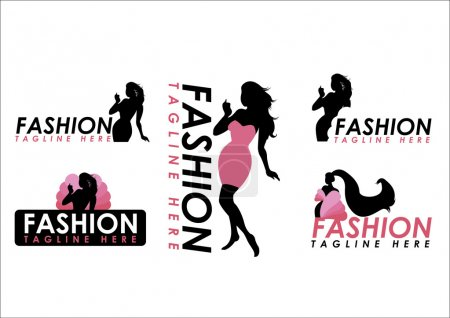 Illustration for Fashion woman silhouette isolated on white background - Royalty Free Image