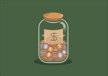 Illustration pour Économiser pot d'argent. Illustration vectorielle - image libre de droit