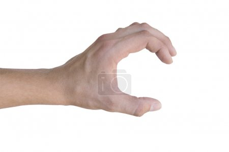 Photo for Hand reaching for something on white background - Royalty Free Image