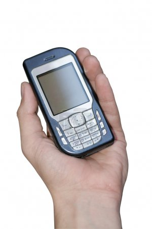 Mobile phone in hand isolated