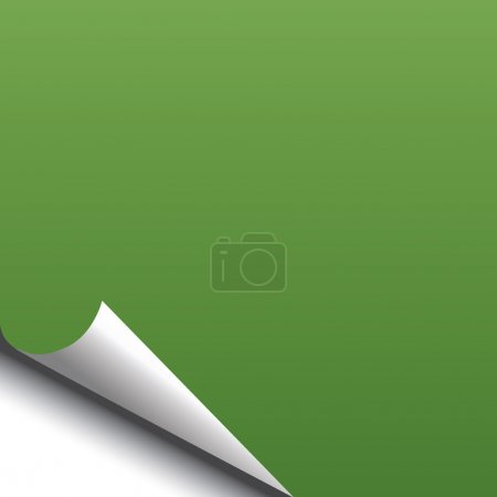Green black page with corner curl