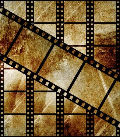 Aged film strip in grunge style