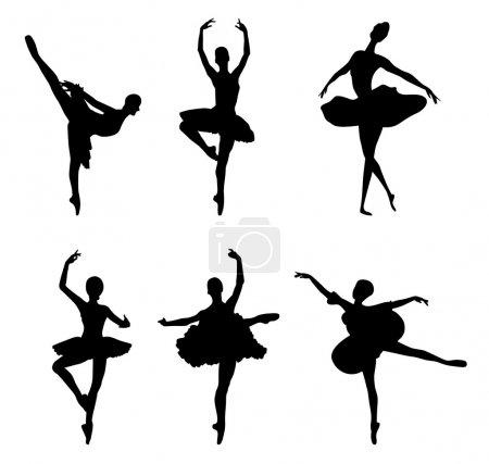 Set of ballet dancers silhouettes