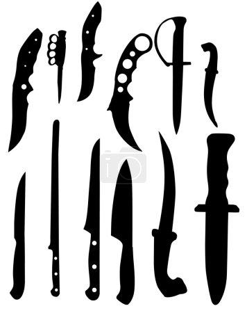 Illustration pour Silhouettes couteaux - illustration vectorielle couleur noir et blanc - image libre de droit