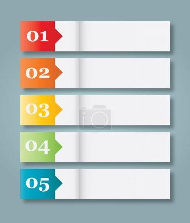 Illustration pour Ensemble de 5 en-têtes de style papier numérotés. illustration du vecteur eps10 - image libre de droit