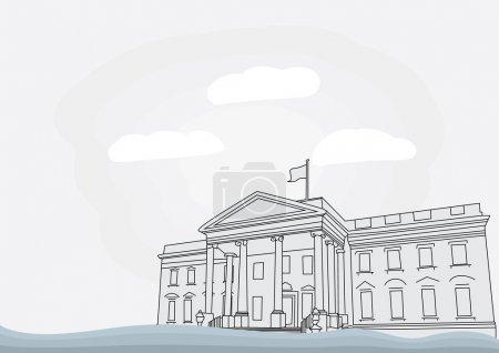 The White House in Washington, D.C. Vector illustr...