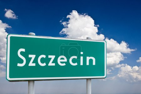 Sign entrance to the city Szczecin in Poland...