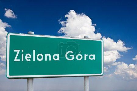 Sign entrance to the city Zielona Gora in Poland...