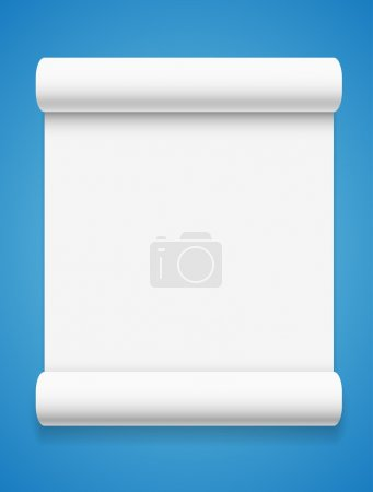 White paper on blue background