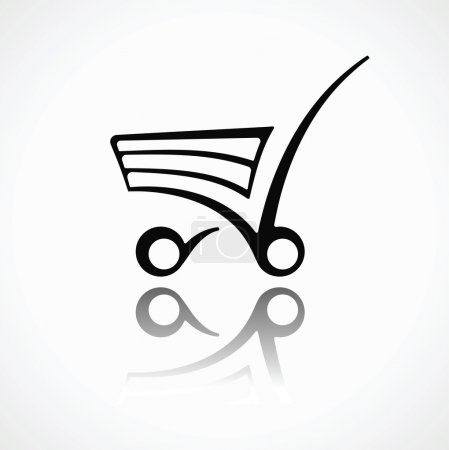 Vector icon shopping cart. Retro abstract symbol