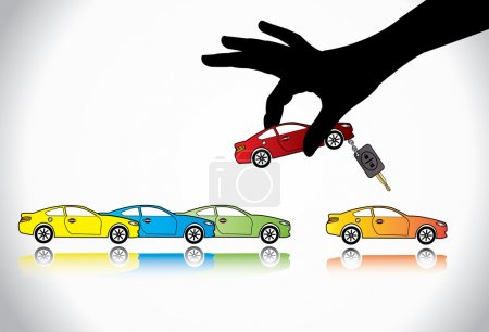 Car Sale or Car Key Concept Illustration : A hand silhouette choosing red colored car with automatic key from a number of colorful cars display for sale