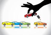 Prodej auto nebo auto klíč koncepce ilustrace: ruka silueta vyberete barevné auto s automatickým klíč z mnoha barevnými automobily displeje na prodej