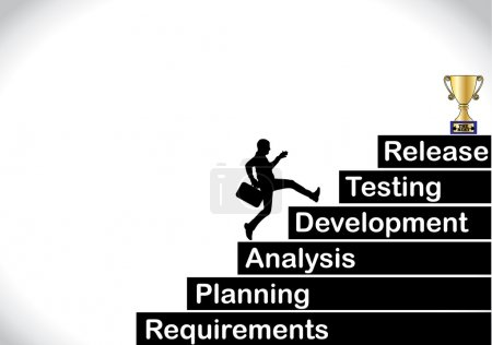 A profession businessman running up the stairs which are with the different stages of software development life cycle with a bright white background - concept design illustration art